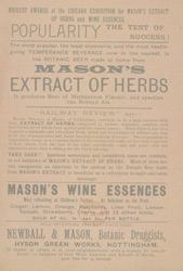 Advert For Mason's Extract Of Herbs reverse